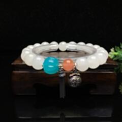 和田玉手链 9674#10mm珠搭配925银天河石南红富贵长寿多宝手链