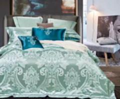 量子能量 四件套纯棉镂空欧式提花被套 全棉双人床上用品 绿色