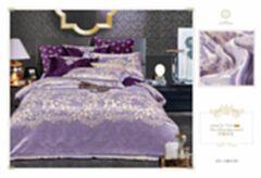 量子能量 四件套纯棉镂空欧式提花被套 全棉双人床上用品 紫色