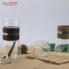 量子茶水分离泡茶杯 300毫升 单层玻璃 颜色随机