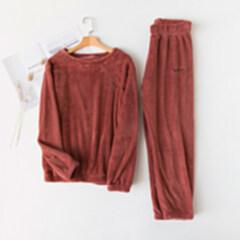 量子能量  暖暖套装 家居服 睡衣 蜜饯红