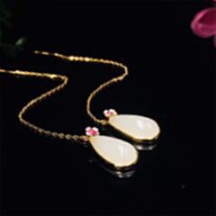 2092#925银镶和田玉水滴配珐琅耳环