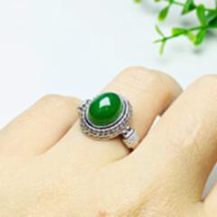 11221#925银镶和田碧玉蛋面素银戒指(金色)