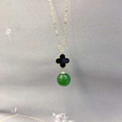 G3307160 和田碧玉圆珠锁骨吊链
