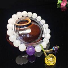 精品主推----9336# 和田玉10mm白玉珠搭配琥珀宝宝锁多宝手链