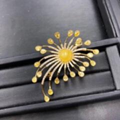 天然原矿蜜蜡胸针 mlxz-5825