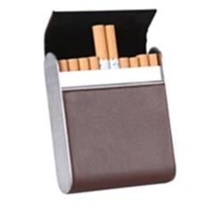 量子能量烟盒 20支装 高档pu烟盒 咖色
