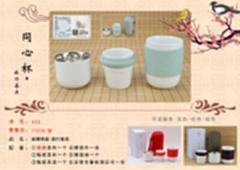 迪珊银瓷同心杯旅行茶具