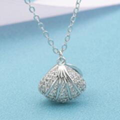 高端时尚纯银s925项饰 海洋贝壳气质微镶锆石珍珠项链女