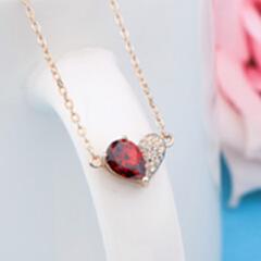 甜美风简约纯银925项链 百搭女学生网红时尚心形锆石套链 玫瑰金