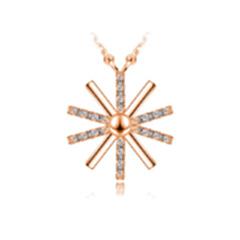 s925纯银太阳花项链 明星同款十字韩版锁骨链情人节礼物 玫瑰金