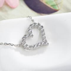 网红爆款 欧美时尚纯银项饰 s925项链心形母亲节礼物简约锁骨链 白金色
