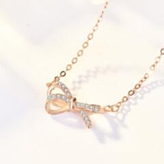 韩版小众设计纯银s925项链 抖音同款 轻奢时尚微镶立体蝴蝶结 玫瑰金