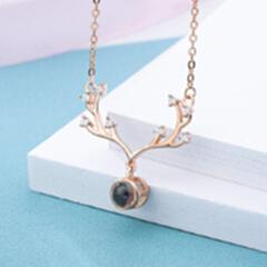 纯银礼品森系创意饰品 抖音同款圣诞礼物一路有你投影麋鹿项链女 玫瑰金