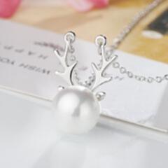 小红书同款 热销礼物s925纯银饰品 鹿角珍珠锁骨链母亲节项链创意 银色