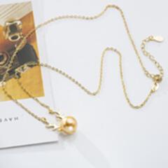 小红书同款 热销礼物s925纯银饰品 鹿角珍珠锁骨链母亲节项链创意 金色