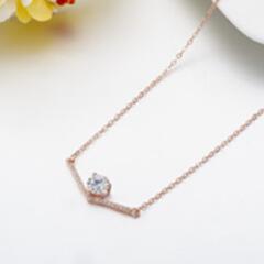 超显瘦s925银V字项链 锆石锁骨链 母亲节礼物 玫瑰金