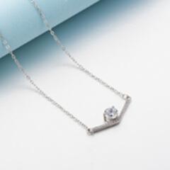 超显瘦s925银V字项链 锆石锁骨链 母亲节礼物 铂金色