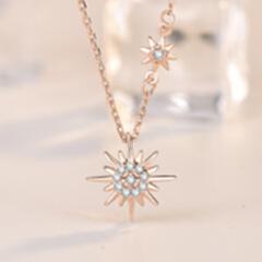 小红书爆款太阳花项链 韩国纯银网红仙女时尚微镶锁骨链 玫瑰金